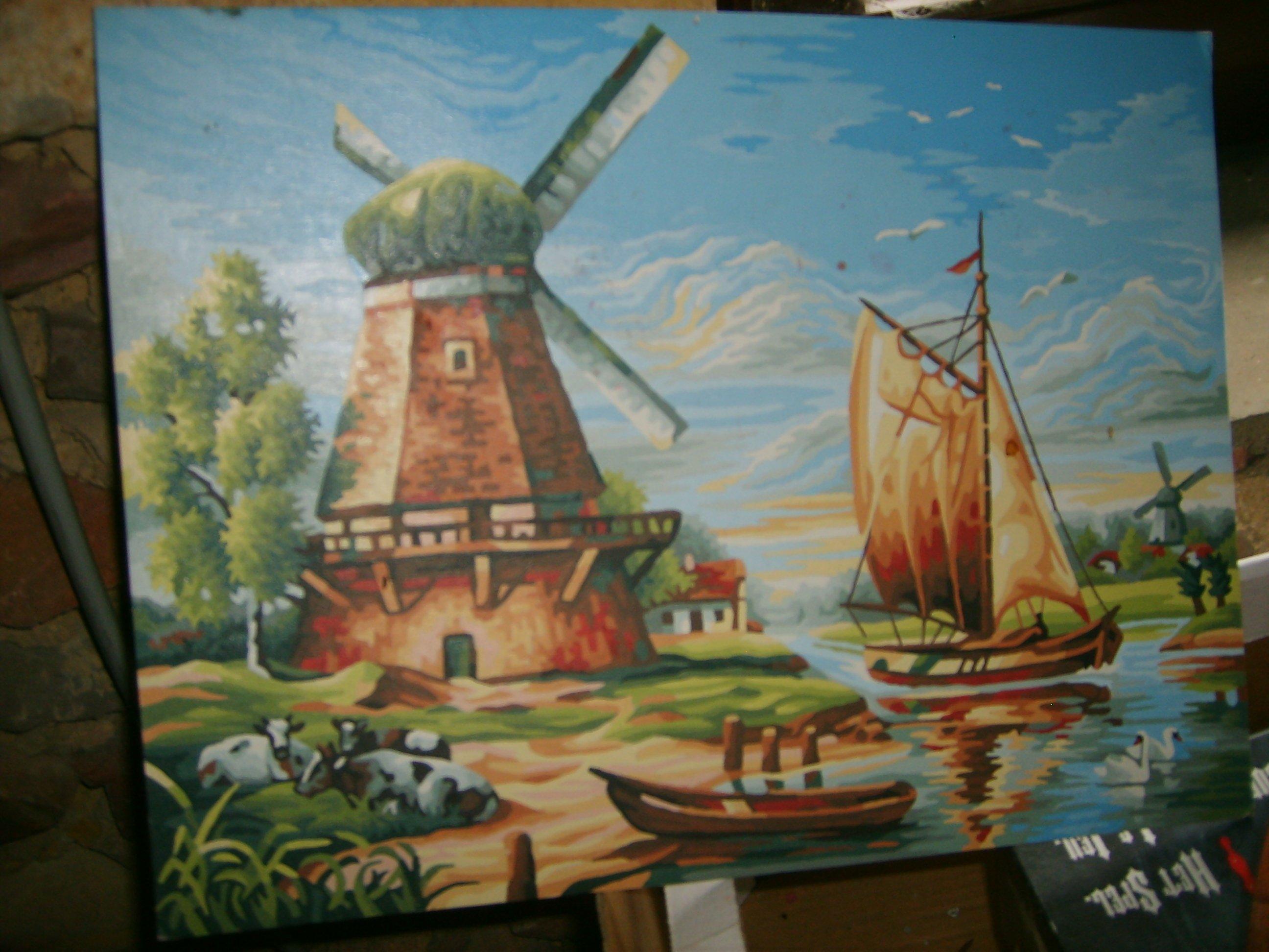 tableau peinture d un moulin avec bateau at monpetitbazaramoi. Black Bedroom Furniture Sets. Home Design Ideas